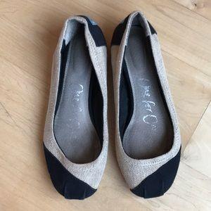Toms ballet flats burlap & cotton size 6
